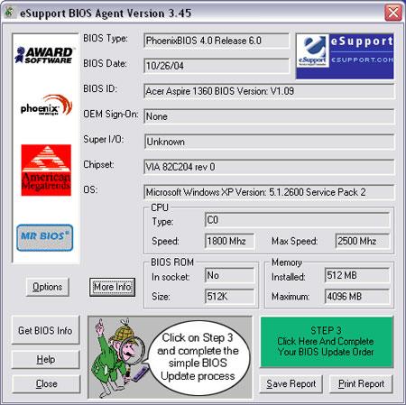 BIOS Agent Plus full screenshot