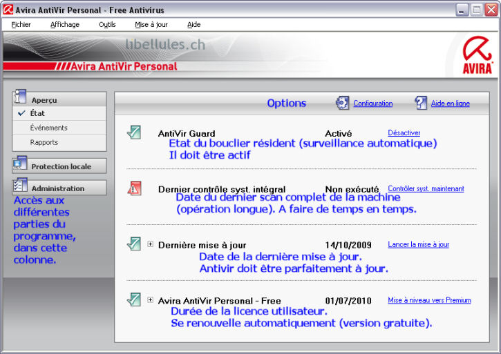 Antivir interface