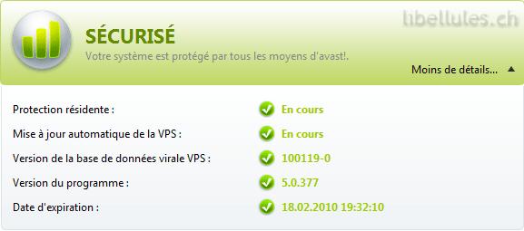 avast! Antivirus Gratuit 5.0