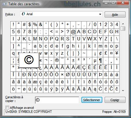 Insérer un caractère spécial dans un document (codes ASCII)
