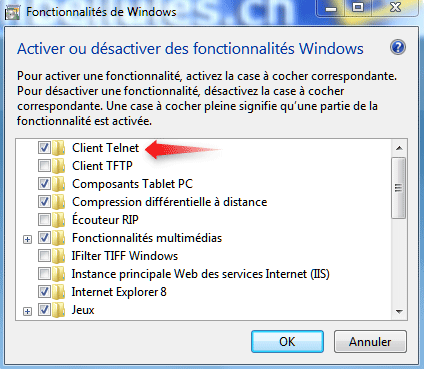 Activer Telnet sur Windows 7