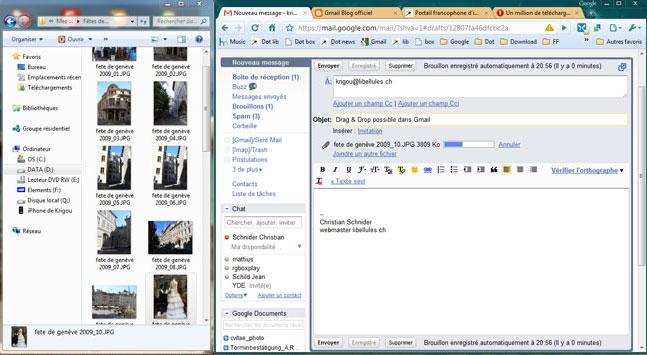Glissez et déposez des pièces jointes sur un message Gmail