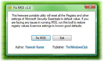 réparer microsoft security essentials