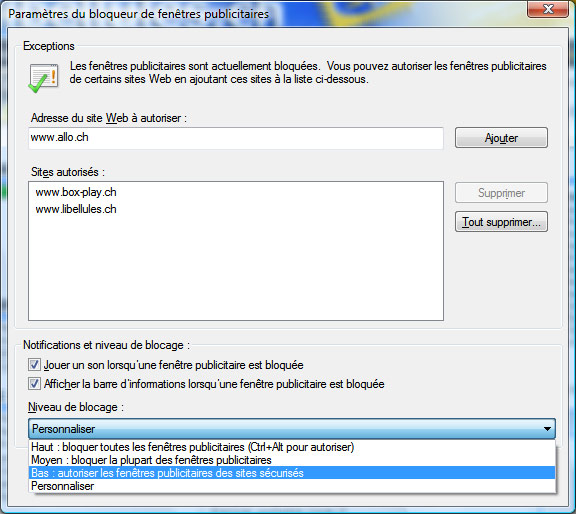 Gestion des pop ups sous internet explorer 8 pour windows for Bloqueur de fenetre publicitaire