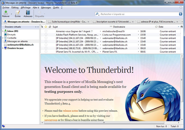 Thunderbird 3 beta 4