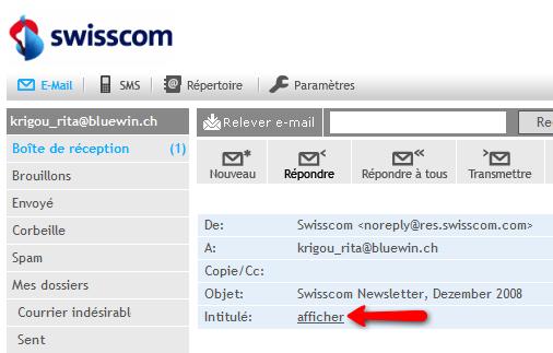 Webmail Bluewin - Afficher l'en-tête (header) d'un message ...