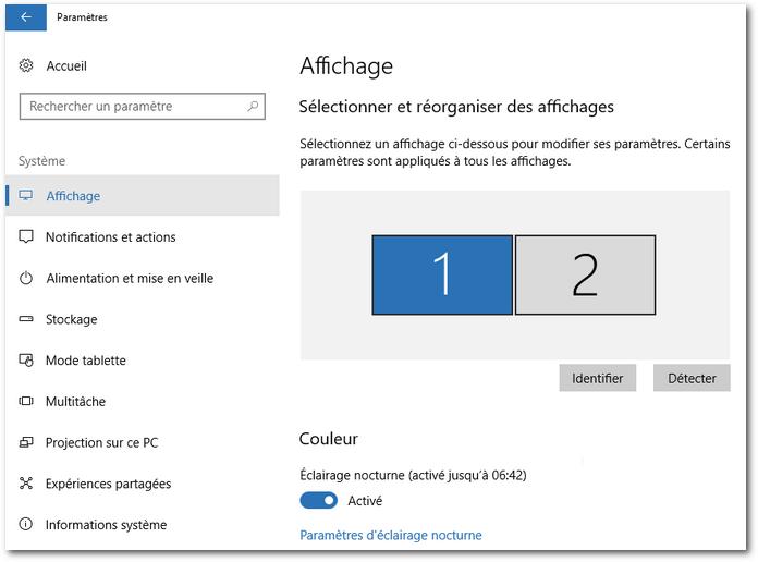 Windows 10 - Éclairage nocturne