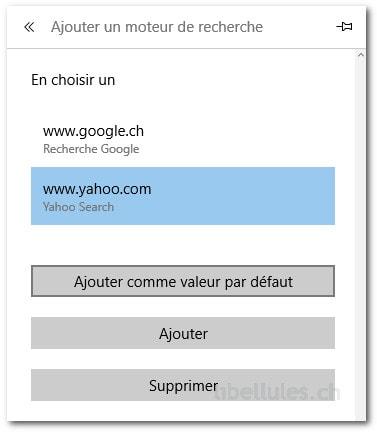 Modifier le moteur de recherche par défaut dans Microsoft Edge