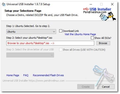 windows lire linux usb installer