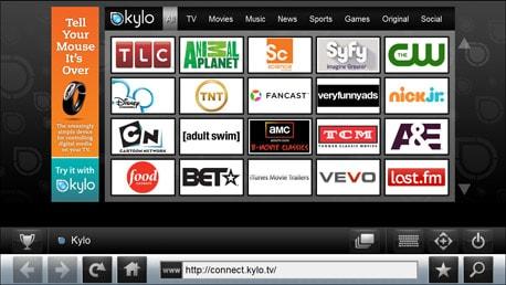 Kylo - un navigateur web spécialement pensé et conçu pour parcourir du contenu Web et visionner des vidéos de l'internet sur un grand écran de télévision.
