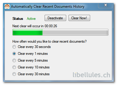 Automatically Clear Recent Documents History