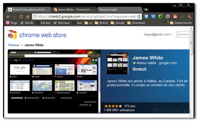 Le thème de James White pour Google Chrome
