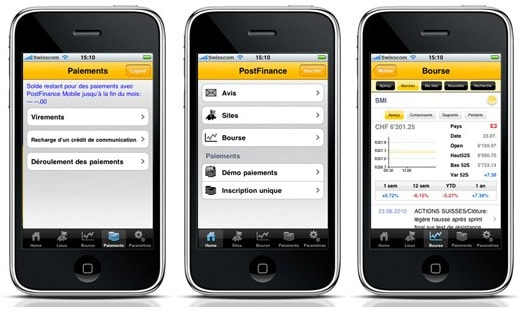 PostFinance Application pour iPhone