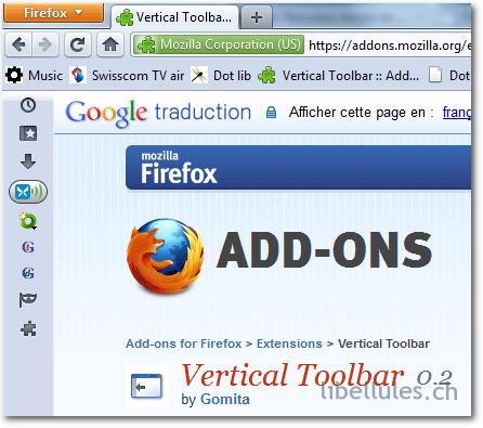 Vertical Toolbar pour Firefox