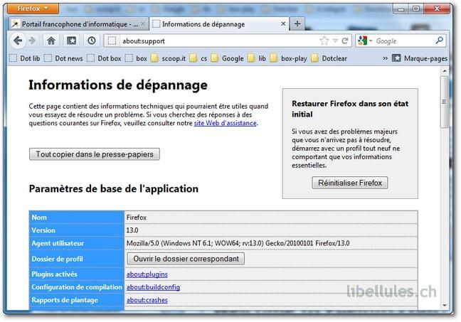 Réinitialiser Firefox 13