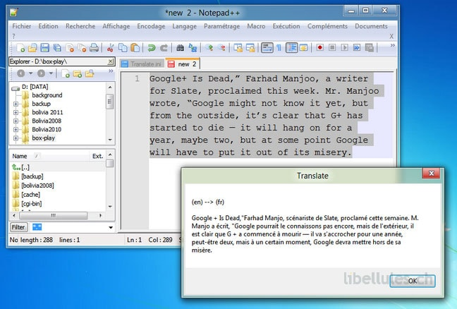 Translate, plugin pour Notepad + +