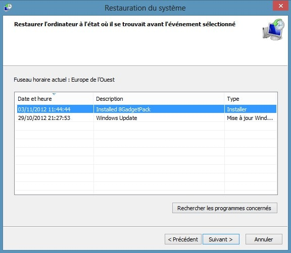 Restaurer votre PC sous Windows 8
