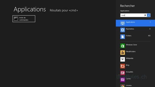 Afficher l'invite de commandes sous Windows 8