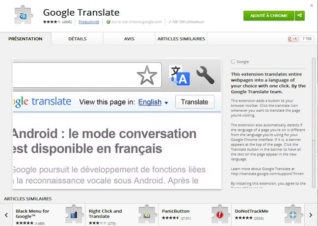 Google Translate pour Chrome