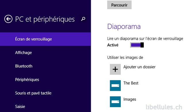 Windows 8.1 - Nouvelle option Diaporama pour l'écran de verrouillage
