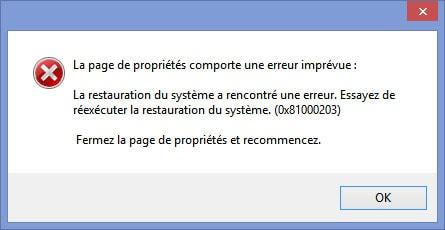 Problème restauration système - erreur 0x81000203