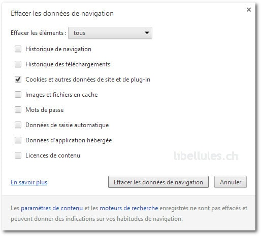 Chrome - Supprimer les cookies