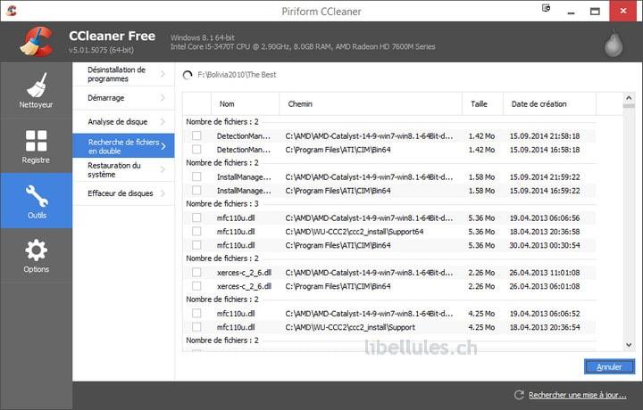 CCleaner - Recherche de fichiers en double