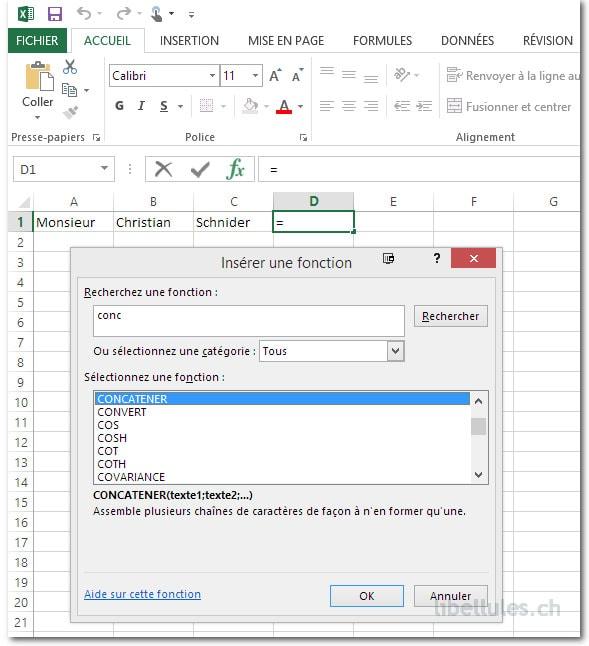 Combiner plusieurs colonnes Excel en utilisant la fonction CONCATENER