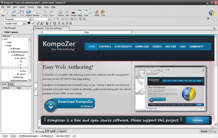 KompoZer, Nvu, html, éditeur, CSS, HTML-Editeur, Mozilla