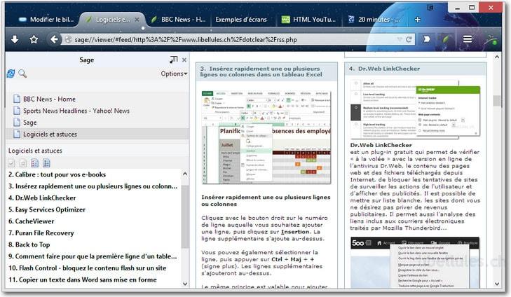 Sage pour Firefox - lecteur RSS