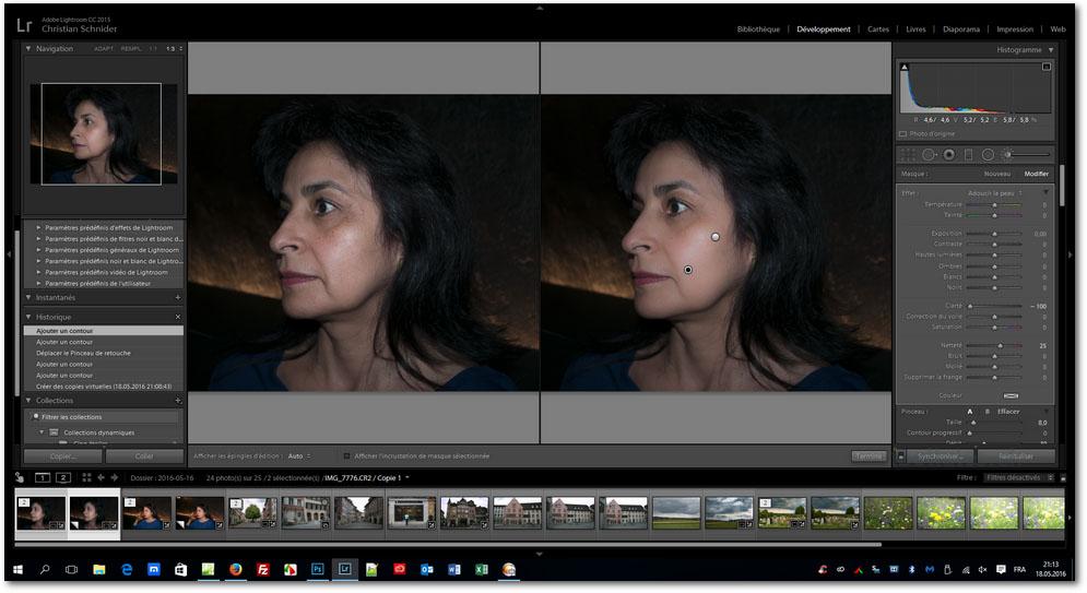 Lightroom - Adoucir la peau d'un portrait