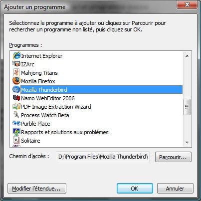 Pare-feu Vista - Création d'une exception sur un programme