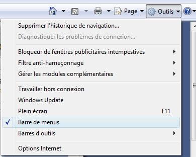 Comment afficher temporairement les menus d'Internet Explorer 7