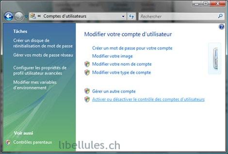 Vista - Activer ou désactiver le contrôle des comptes d'utilisateurs