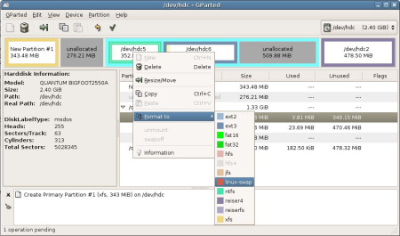 GPartEd : Gnome Partition Editor