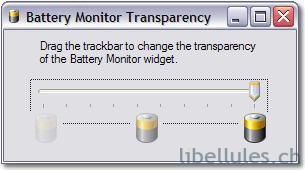batterie réglage transparence