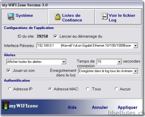 My WIFI Zone - filtrage adresse mac