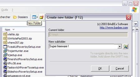 bxNewFolder - utilitaire pour créer facilement un nouveau dossier
