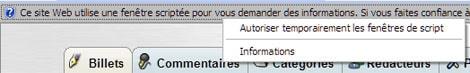 IE7 - Autoriser les sites Web à demander des informations à l'aide de fenêtres scriptées