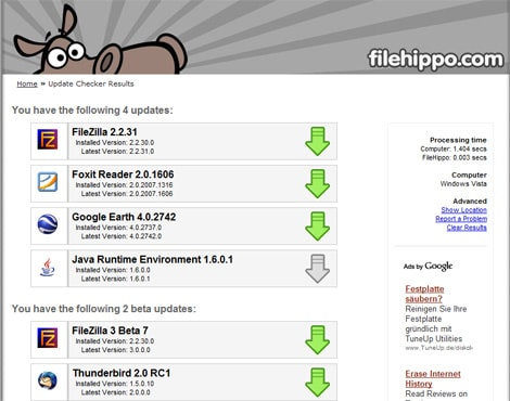 Update Checker de filehippo.com