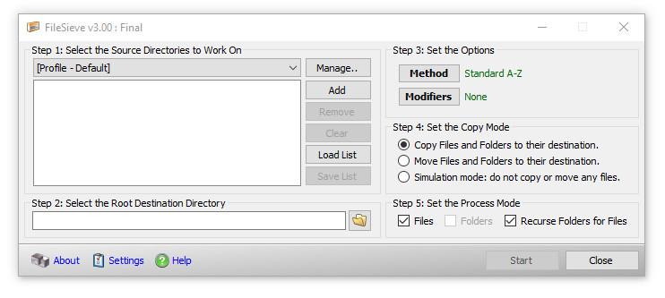 FileSieve - filtrer/organiser/copier/déplacer des fichiers