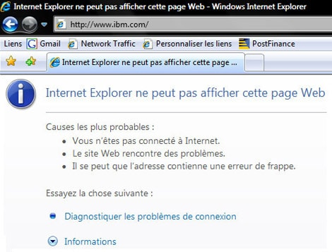Internet Explorer 7 ne peut pas afficher cette page Web - Que faire ?