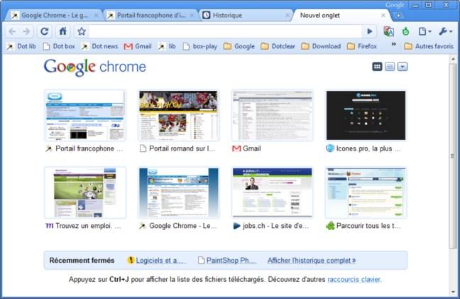 Chrome - miniatures des pages les plus visitées