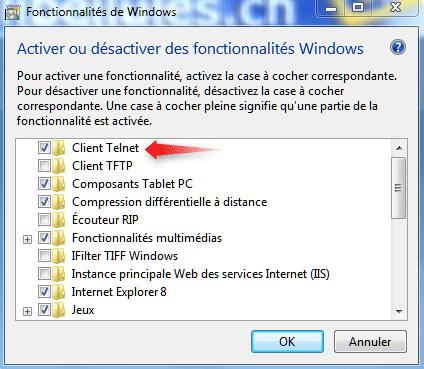 Activer Telnet sur Windows 7