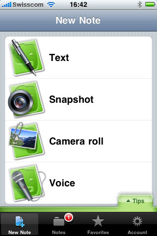 Evernote pour iPhone