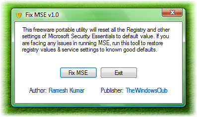réparer microsoft security essentials