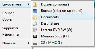"""Comment gérer le menu """"Envoyer vers"""" sous XP et Vista"""