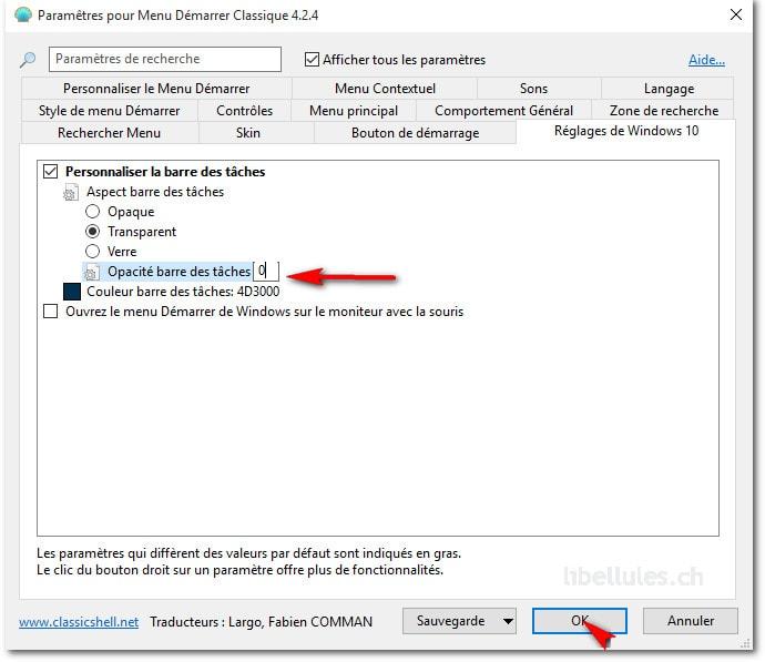 Rendez la barre des tâches de Windows 10 totalement transparente