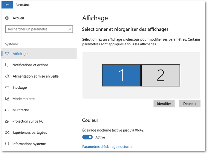 Windows 10 - Éclairage nocturne