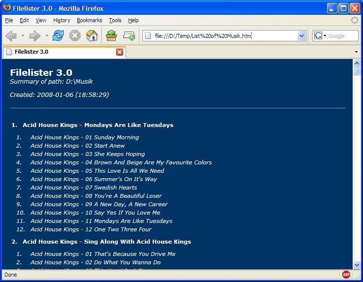 Filelister - lister avec filtres les fichiers d'un dossier